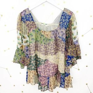 Anthro • Floral Print Patchwork Blouse Beaded S